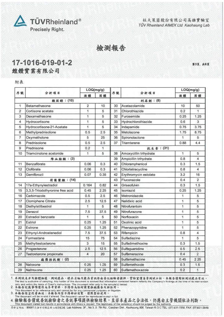 鱘寶家-鱘龍魚保健食品相關檢驗報告 1